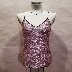 T-Bags Los Angeles Sequined Tank Top in Blush